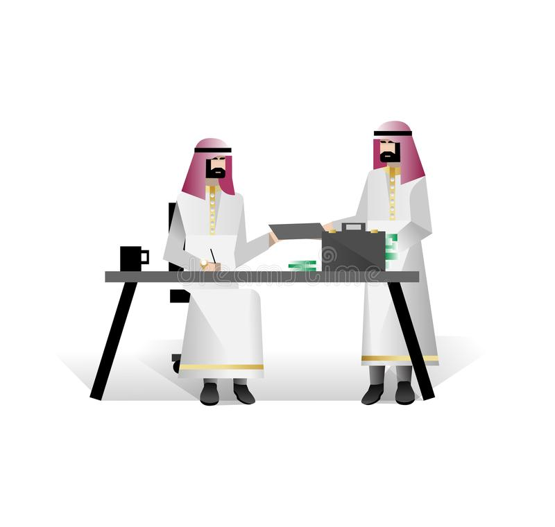 Bearded arabic businessmen conclude a contract. In office. Corporate business people isolated vector illustration vector illustration