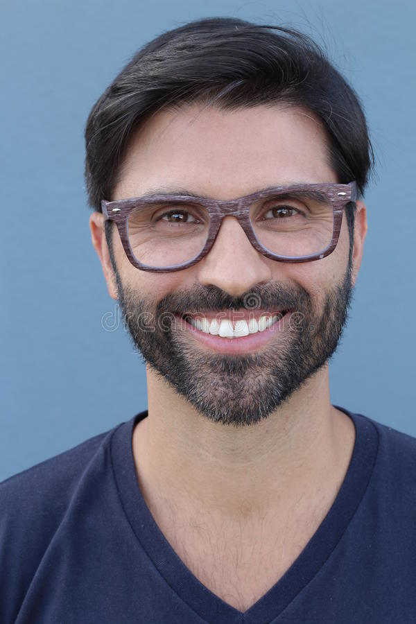 Bearded attractive male with stylish eyeglasses.  royalty free stock photography