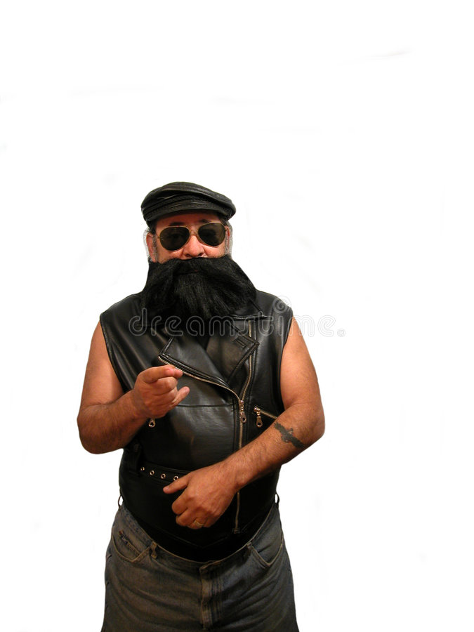 Bearded Biker pointing royalty free stock photography