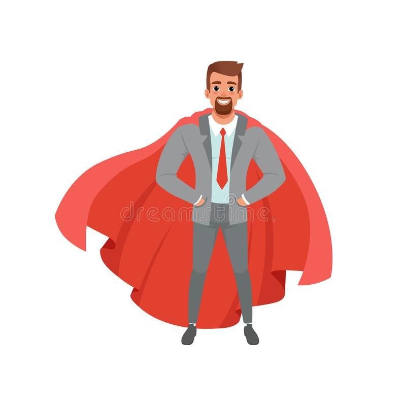 Bearded business man in gray suit, shirt, red tie royalty free illustration