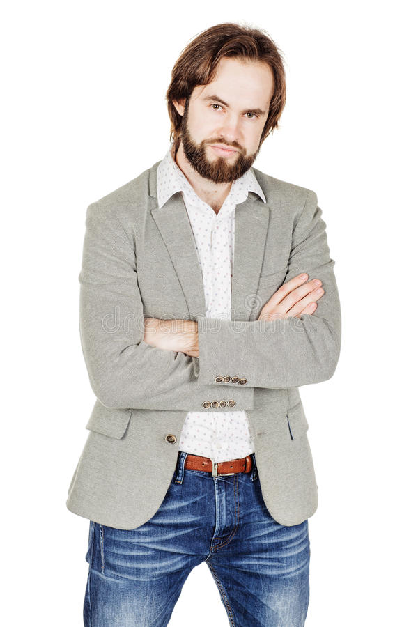 bearded business man with suspicious emotion. human emotion expression and lifestyle concept. image on a white studio background. stock image