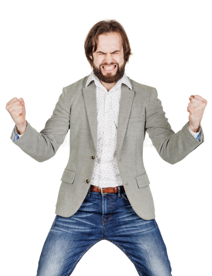 Bearded business man with wide open mouth and gesticulating with stock photos