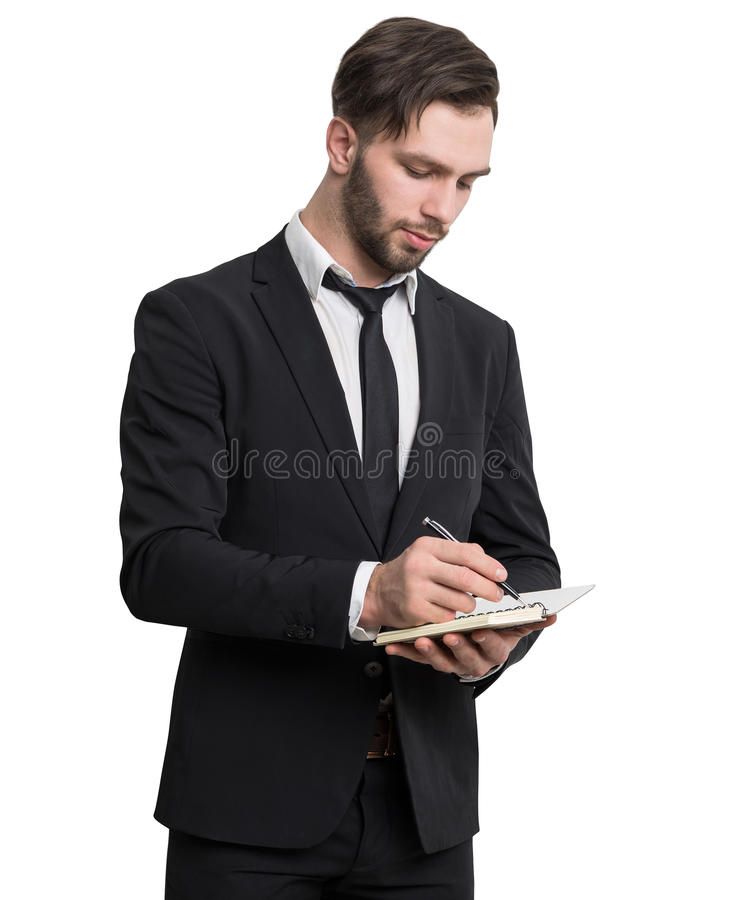 Download Bearded Businessman Writing In Notebook, Isolated Stock Image - Image: 83722145