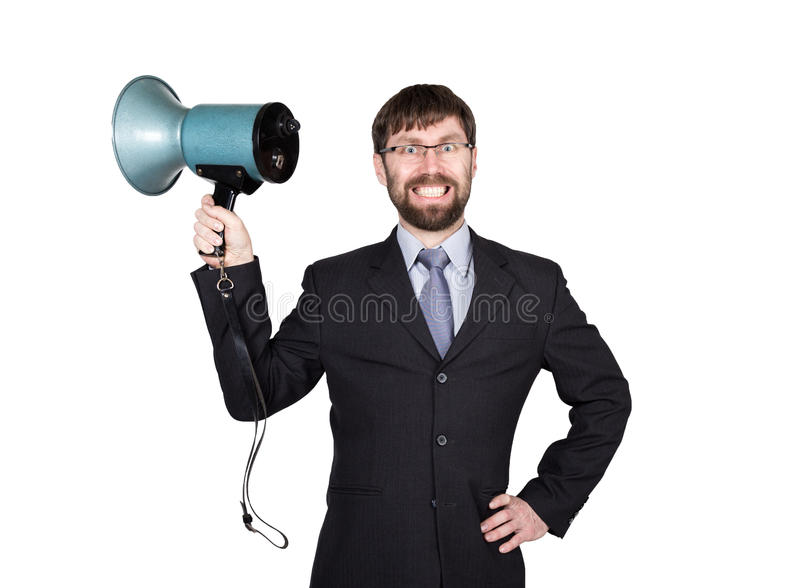 Bearded businessman yelling through bullhorn. Public Relations. man expresses various emotions. photos of young. Businessman wearing a suit and tie. isolated on stock photo