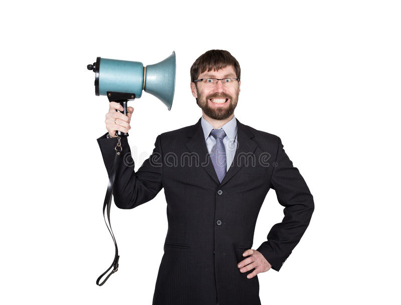 Bearded businessman yelling through bullhorn. Public Relations. man expresses various emotions. photos of young. Businessman wearing a suit and tie. isolated on royalty free stock photography