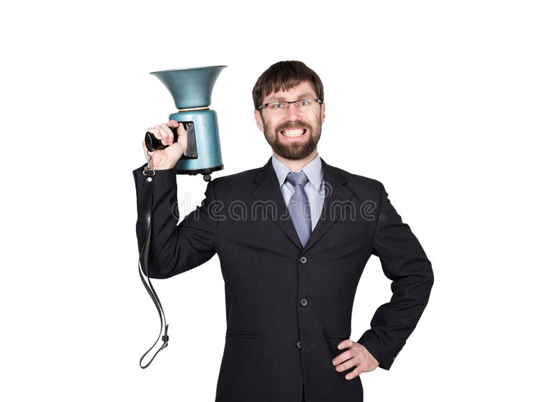 Bearded businessman yelling through bullhorn. Public Relations. man expresses various emotions. photos of young. Businessman wearing a suit and tie. on white stock image