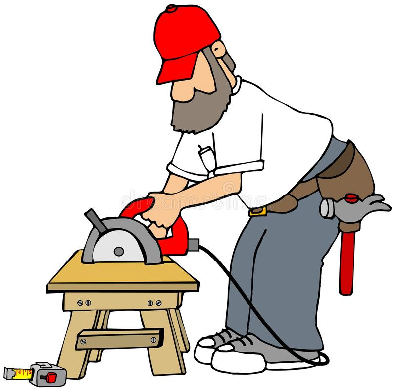 Bearded carpenter using a circular saw royalty free illustration