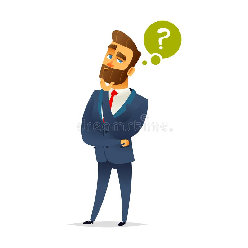 Bearded charming man is thinking. Question mark and manager. Pensive Businessman. Businessman thinking. stock illustration