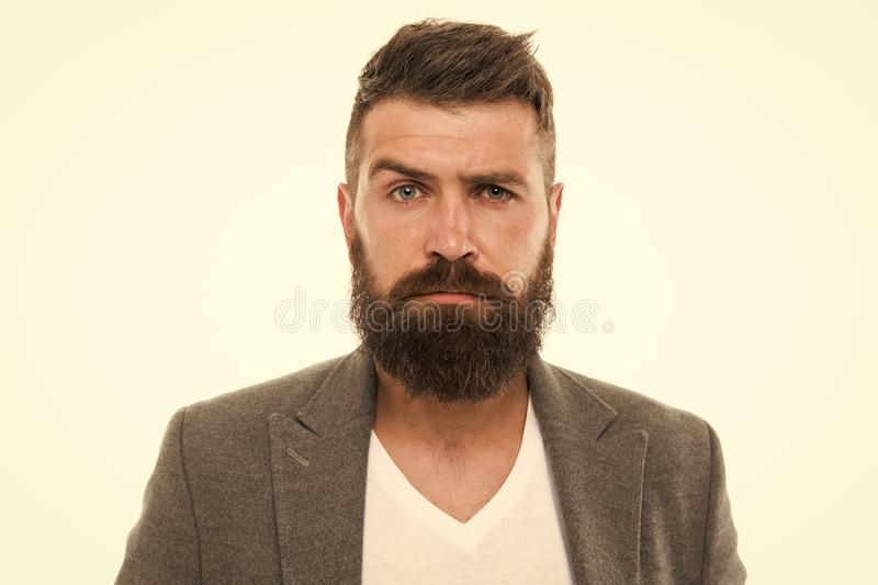 Bearded and confident. Hipster appearance. Beard fashion and barber concept. Man bearded hipster stylish beard and stock images