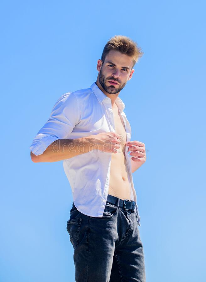 Bearded guy business style. Handsome man fashion model. Muscular torso. Muscular sexy macho man. Attractive torso. Hot royalty free stock image