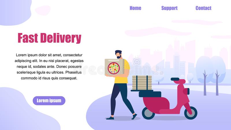 Bearded Guy Delivery Service Order Shipping Pizza stock illustration