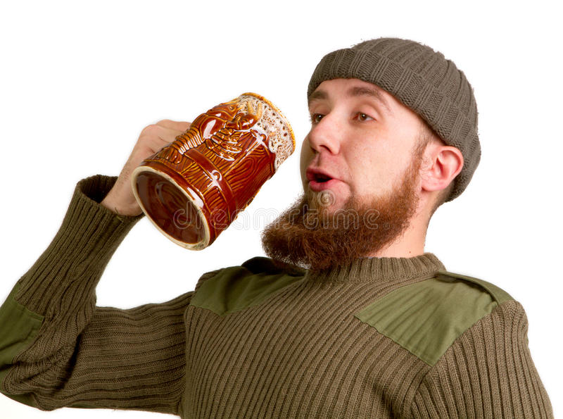 Download Bearded Guy Drinking Beer From The Glass Stock Image - Image: 28465423