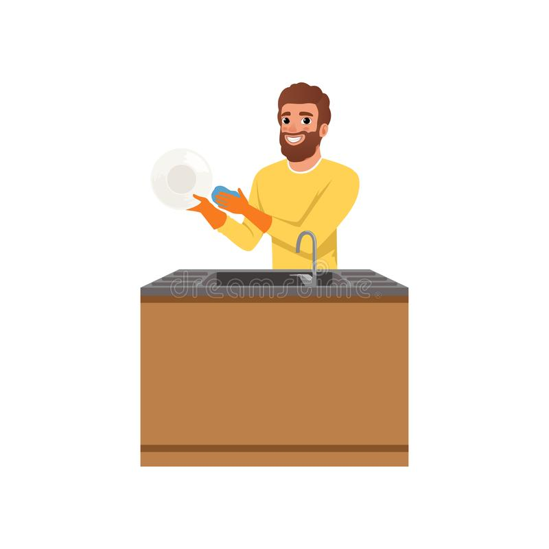 Bearded guy in orange rubber gloves washing plate with sponge. Young man doing household chores. Cleaning and royalty free illustration