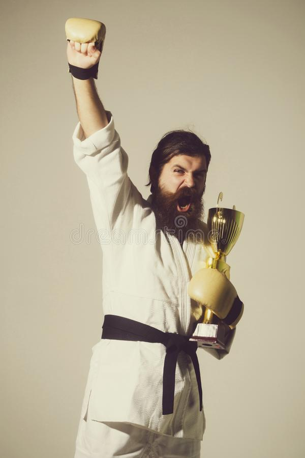 Bearded happy karate man in kimono, boxing gloves, champion cup. Bearded karate man, long beard, brutal caucasian hipster with moustache in white kimono with stock photography