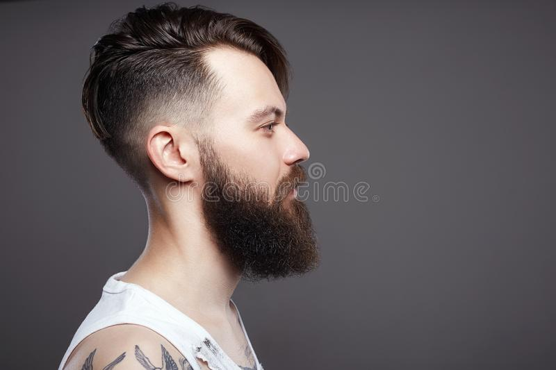 Bearded hipster. Boy with stylish haircut and tattoo. Handsome man with beard. bearded hipster. Boy with stylish haircut and tattoo royalty free stock photography