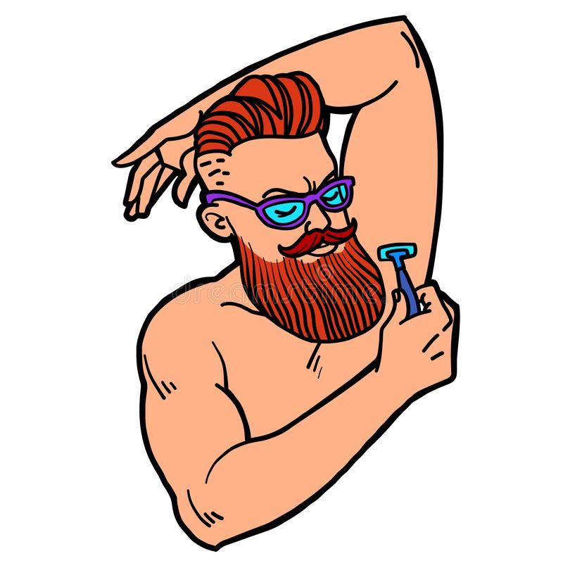 Bearded hipster man shaves his armpit with a razor stock illustration