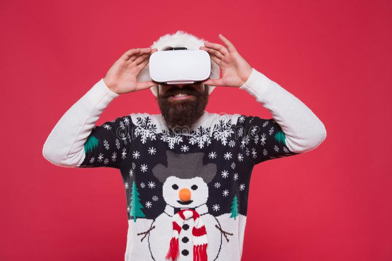 Bearded hipster play game vr. Merry christmas. Cyber gaming. Virtual achievement. Future technologies. Virtual life. Man. Celebrate christmas virtual reality stock images