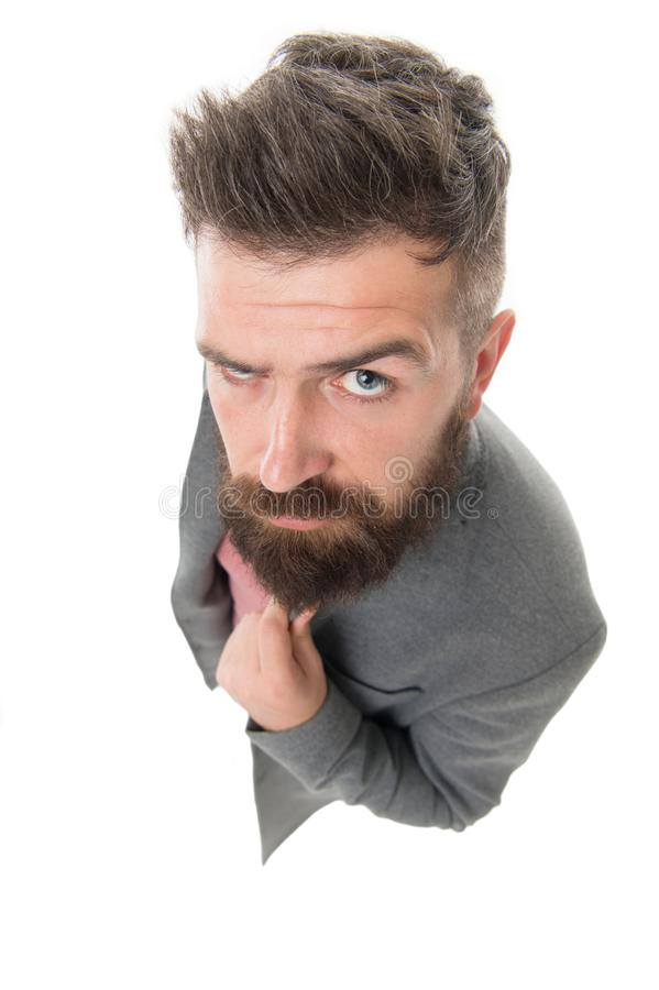 Bearded hipster stylish fashionable jacket. Man wear casual stylish outfit. Male wardrobe. Menswear and fashion concept. Tips and tricks handsome man royalty free stock photos