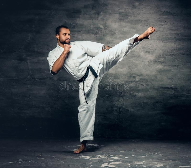 Karate fighter dressed in a white kimono in action. stock image