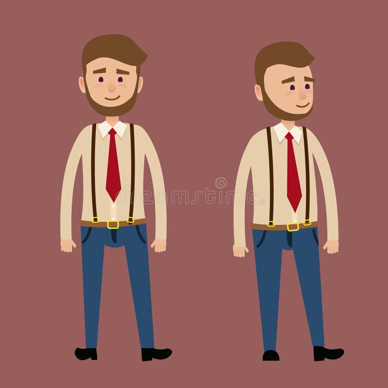 Bearded Male Character in Red Tie Illustration stock illustration