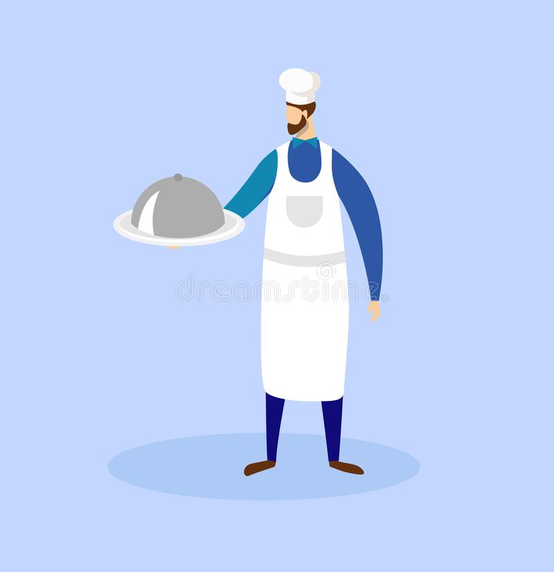 Chef Holding in Hands Tray with Dish Under Cloche. vector illustration