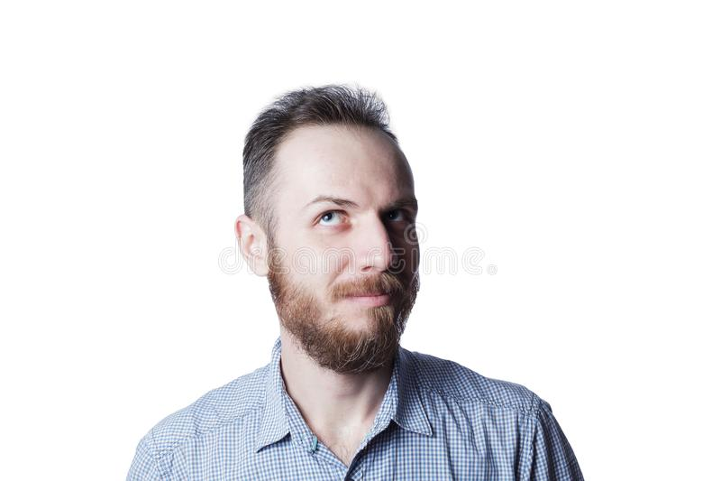 Bearded male has idea royalty free stock photo