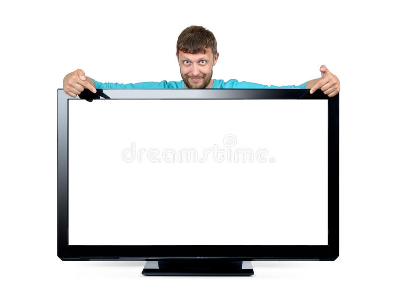 Bearded man advertises a widescreen TV on white background. File contains a path to isolation. stock image