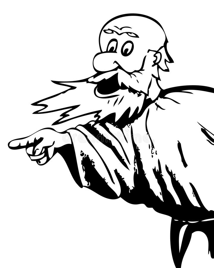 The bearded man in anger. Pointing his finger. Caricature royalty free illustration