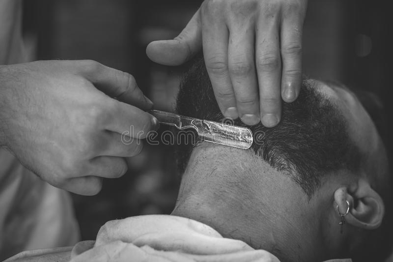 Bearded Man In Barbershop royalty free stock images