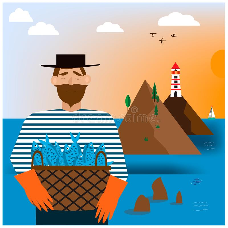 Bearded man with fishes royalty free illustration