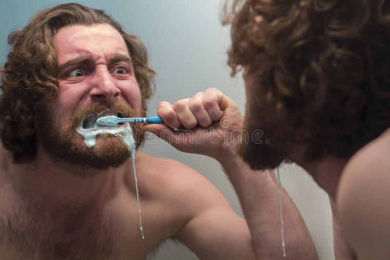 Bearded Man Brushing Teeth. Silly bearded man brushing teeth in bathroom mirror stock images