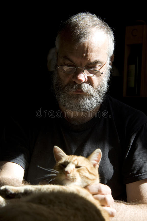 Bearded man caresses cat royalty free stock images