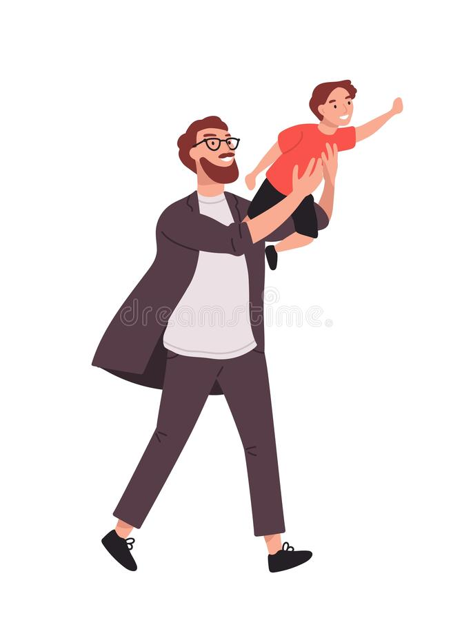 Bearded man carrying young boy. Smiling dad holding son. Joyful father playing with his little kid. Happy family. Cute royalty free illustration