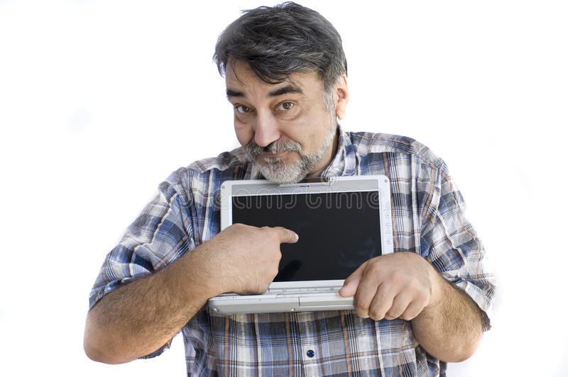 Bearded man with computer