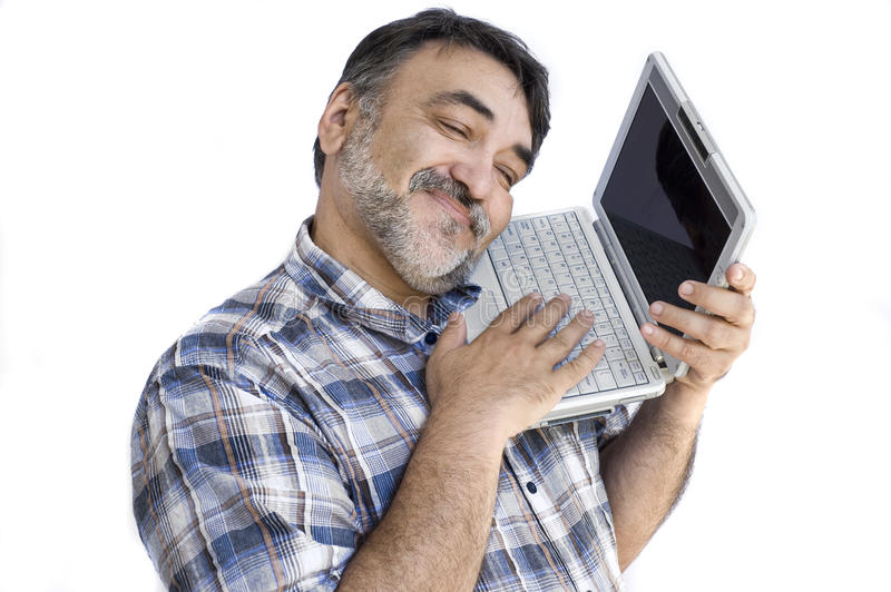 Download Bearded man with computer stock image. Image of isolated - 11868469