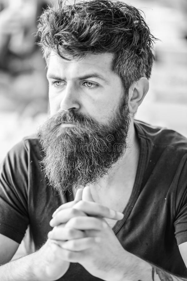 Bearded man concentrated face. Hipster with beard thoughtful expression. Thoughtful mood concept. Making important life royalty free stock photography
