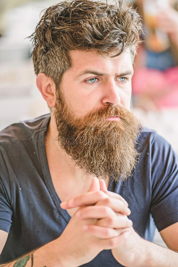 Bearded man concentrated face. Hipster with beard thoughtful expression. Thoughtful mood concept. Making important life. Choices. Making hard decision. Man with stock images