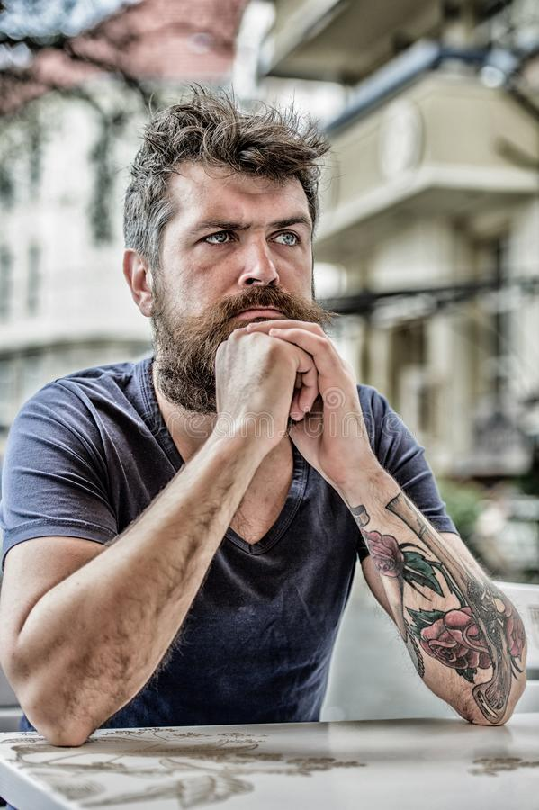 Bearded man concentrated face. Thoughtful mood concept. Making important life choices. Man with beard and mustache stock images