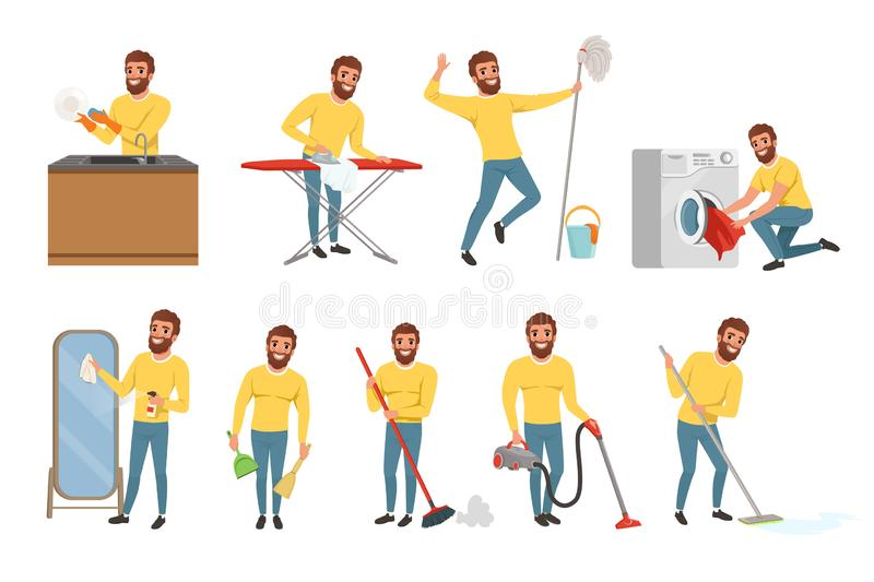 Bearded man with different household chores. Cleaning floor with mop and vacuum cleaner, washing dishes, ironing clothes. Happy house husband. Young guy in royalty free illustration