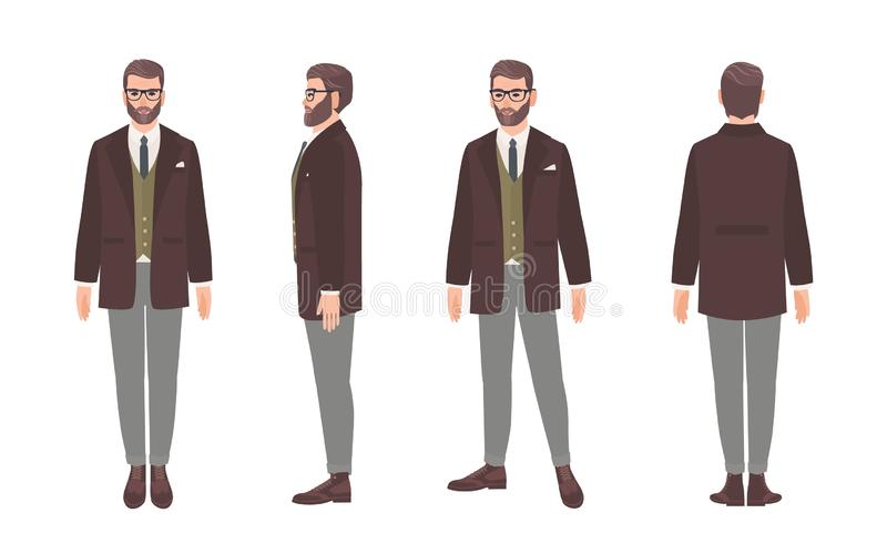 Bearded man dressed in elegant formal office clothes or business suit. Male cartoon character isolated on white. Background. Front, side and back views vector illustration