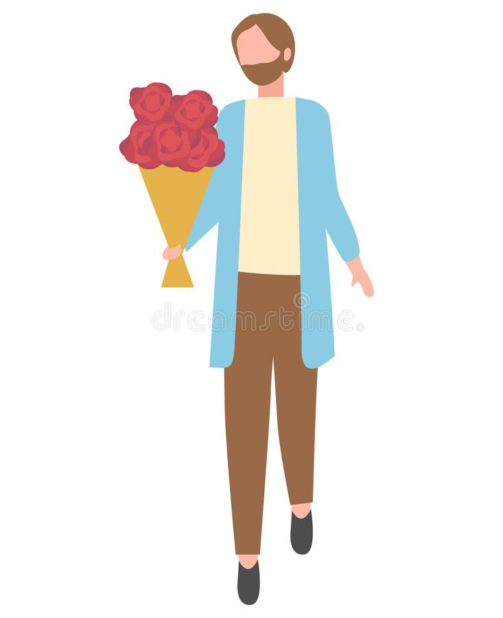 Bearded Man with Flower Bouquet Isolated Cartoon. Bearded man with bouquet of flowers isolated cartoon character. Vector male with blooming rose buds, present royalty free illustration
