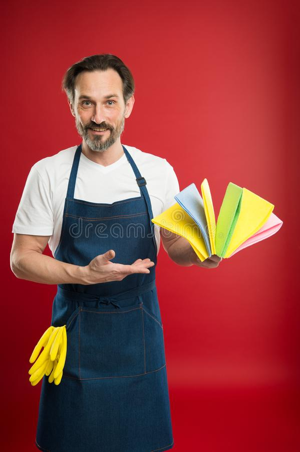 Bearded man.general or regular clean up. Commercial cleaning company concept. Spring cleaning. domestic helper. Maid or. Houseman cares about house. he loves royalty free stock photo
