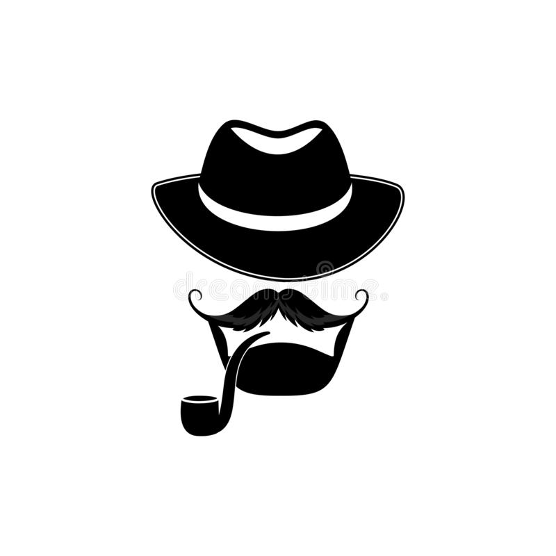 Bearded man with a hat and a pipe. Detective. Sleuth. Barbershop logo stock illustration