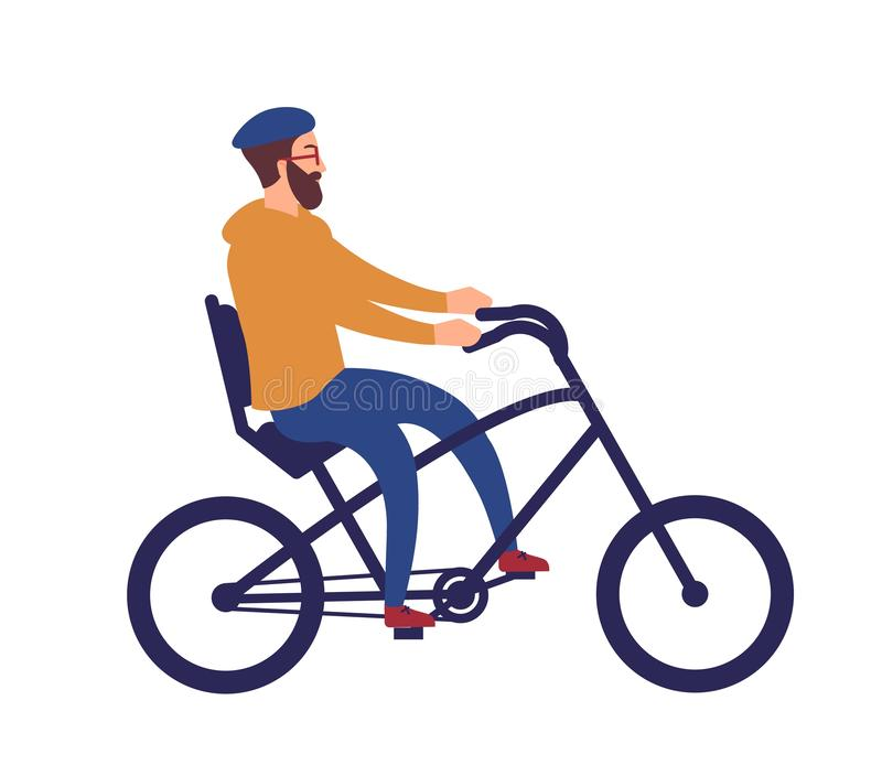 Bearded man in helmet riding stylish chopper bicycle. Happy cycling hipster guy isolated on white background. Cute funny vector illustration