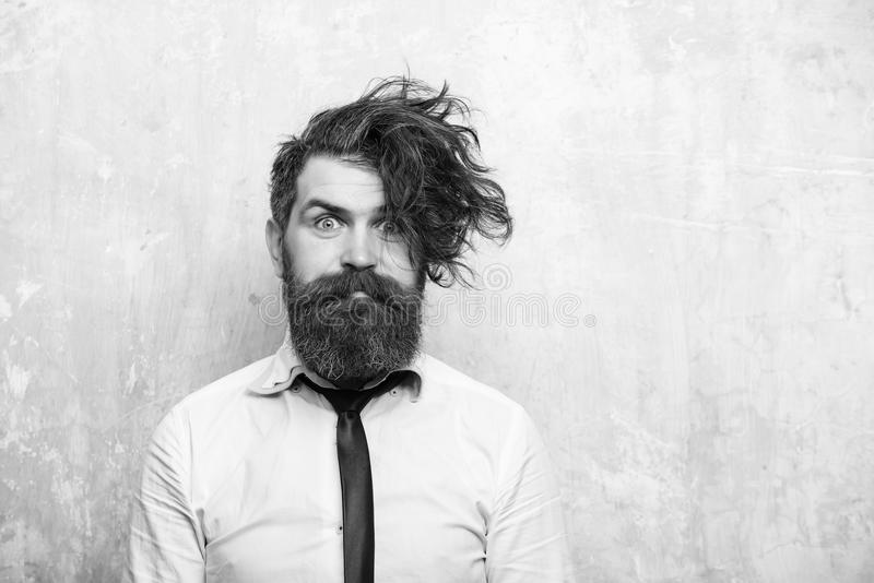 Bearded man or hipster with long beard on surprised face stock photo