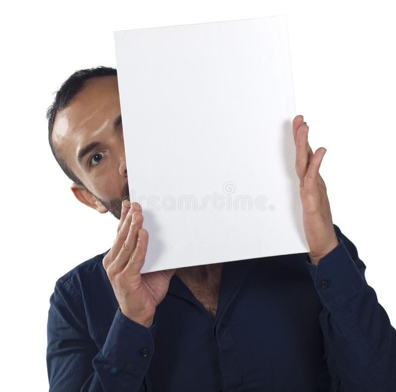 Download Bearded Man Holding A Blank White Canvas Stock Image - Image: 21810999