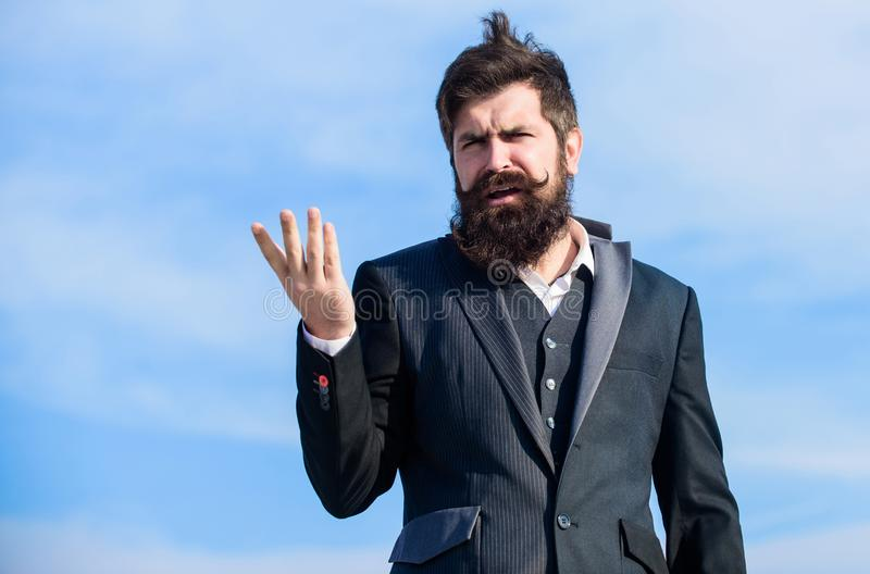 Bearded man. I made my choice. Mature hipster with beard. Businessman against the sky. Future success. Male formal royalty free stock photo