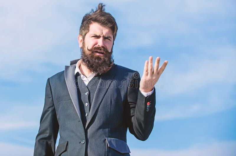Bearded man. I made my choice. Mature hipster with beard. Businessman against the sky. Future success. Male formal stock image