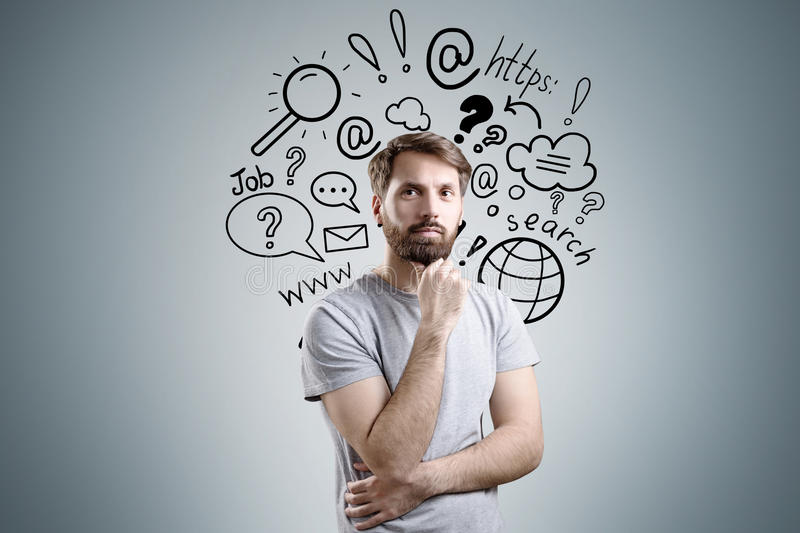Bearded man and internet search icons royalty free stock images