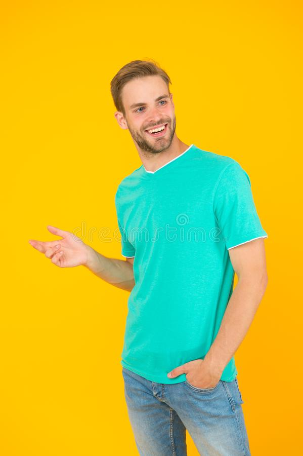 Bearded man. Keep youth. Modern male hairstyle. Hairstyle for hipster. Handsome man yellow background. Well groomed guy stock image